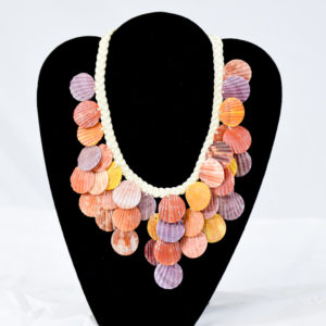Layered multi color scallop shell with white braided cord