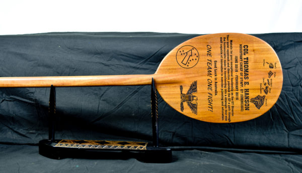 outrigger paddle with engraving mahogany