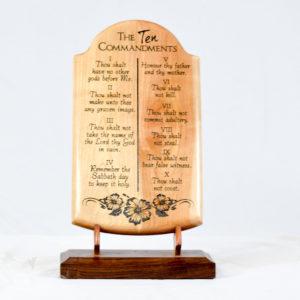 ten commandments wood plaque straight