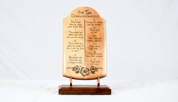 ten commandments wood plaque straight