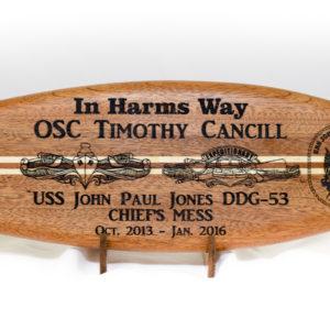 wood surfboard engraving